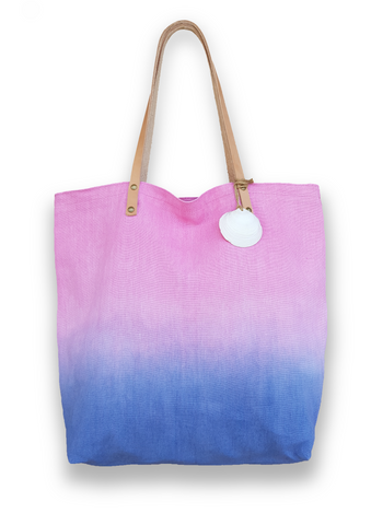 Aqua Ombre Linen Causal Tote with leather strap