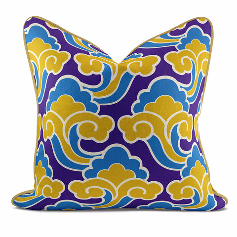 Golden Cloud Blue Pillow Case