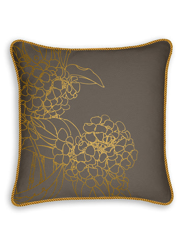 Metallic Hydrangea on Gray Luxury Twill Linen Pillow Case