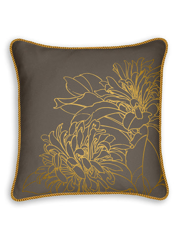 Metallic Liliy on Gray Luxury Twill Linen Pillow Case