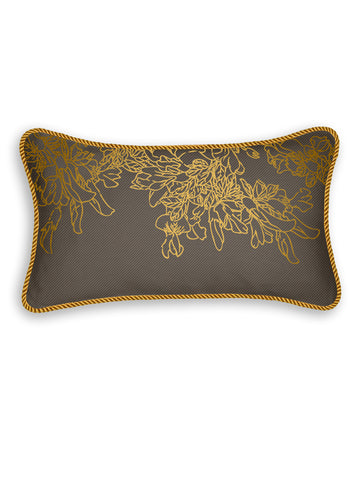 Metallic Pyrostegia on Gray Luxury Twill Linen Lumbar Pillow Case