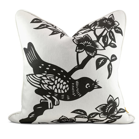 Bird On Branch Black Pillow Case