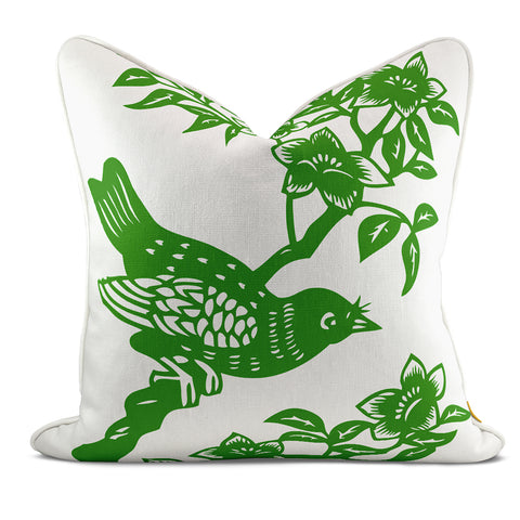 Bird On Branch Green Pillow Case