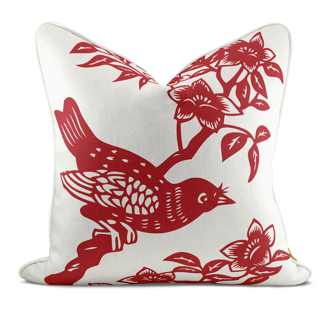 Bird On Red Green Pillow Case