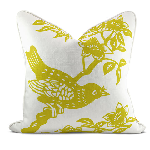 Bird On Branch Yellow Pillow Case