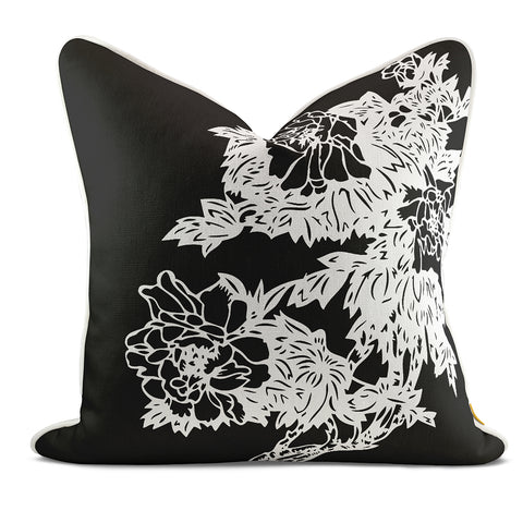 Peony Garden Black Pillow Case