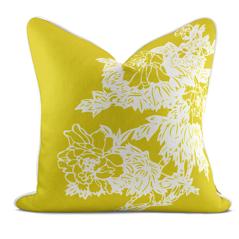 Peony Garden Yellow Pillow Case
