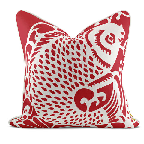 Leaping Fish Red Pillow Case