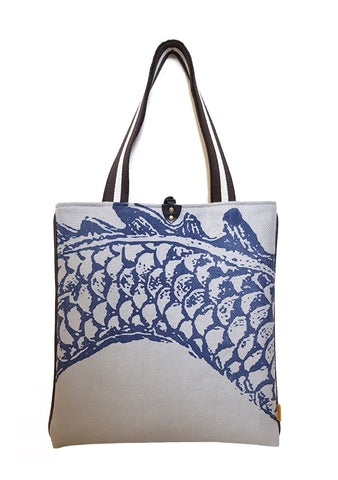 Navy Dragon Print on Silver Luxury Heavy Twill Linen Tote
