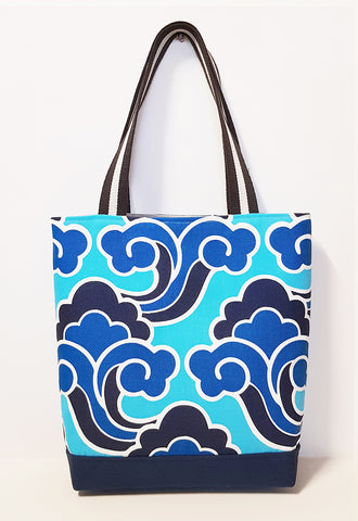 Blue Cloud Motif Linen Market Tote with Canvas Bottom