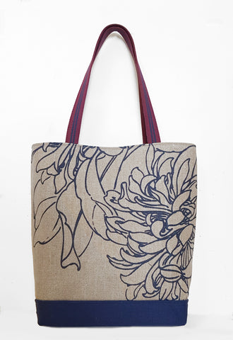 Hydrangea Jute Linen Market Tote with Canvas Bottom