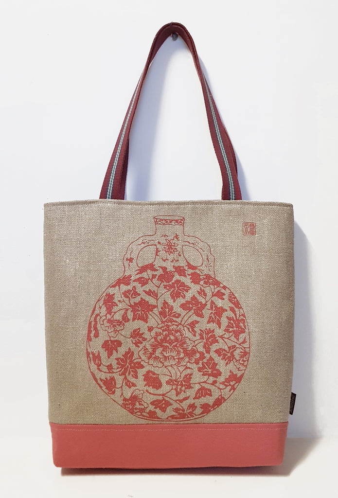 Red Peony Vase Motif Jute Linen Market Tote with Canvas Bottom