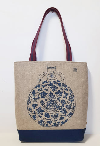 Navy Vase Motif Jute Linen Market Tote with Canvas Bottom