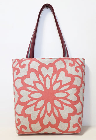 Red Lotus Natural Linen Market Tote