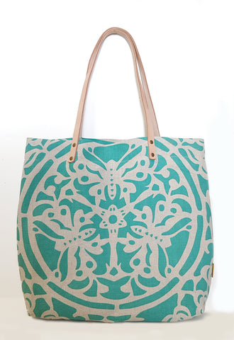 Blue Butterfly  Natural Linen Casual Market Tote with Leather Strap