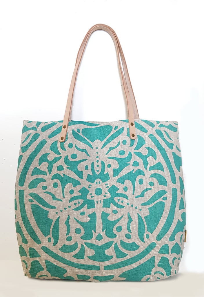Jade Lotus Natural Linen Casual Market Tote with Leather Strap