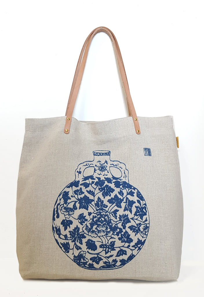 Navy Porcelain Natural Linen Casual Market Tote with Leather Strap