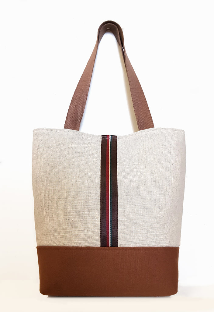 Natural Linen Market Tote with Canvas Bottom