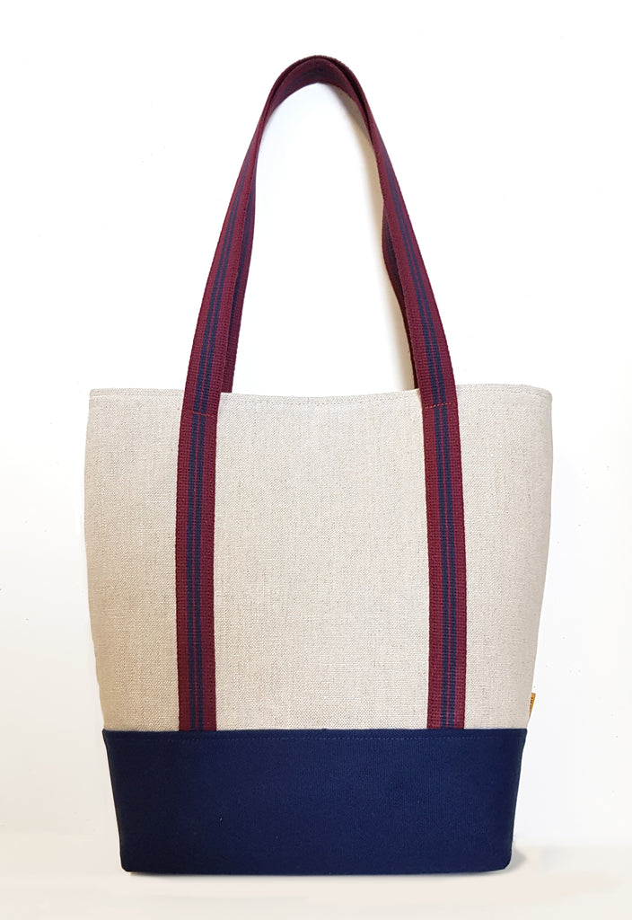Two Straps Natural Linen Market Tote with Canvas Bottom