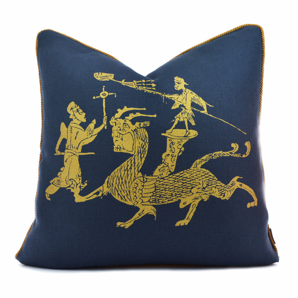Dragon Dance Navy Gold Pillow Case