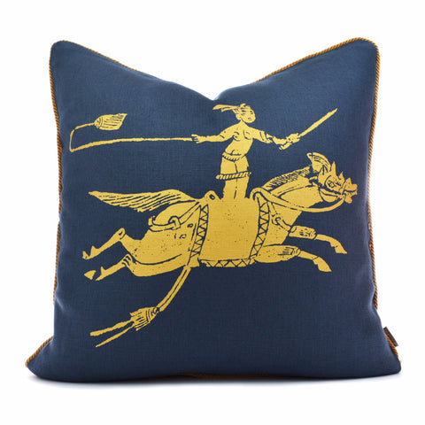 Golden Rider Navy Gold Pillow Case