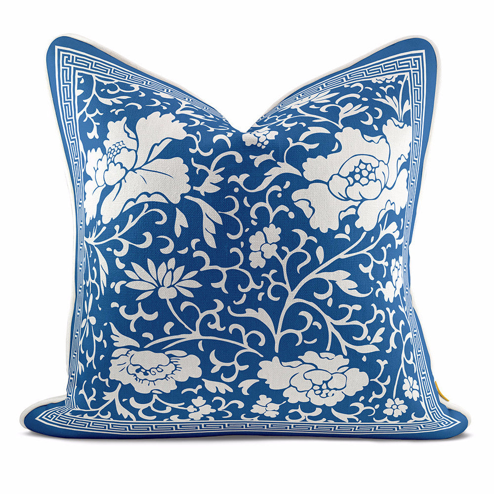 Peony Blossom Navy Blue Pillow Case