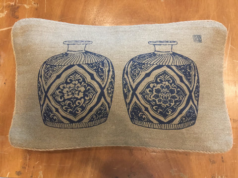 "12""x20"" single print jute  pillow case"