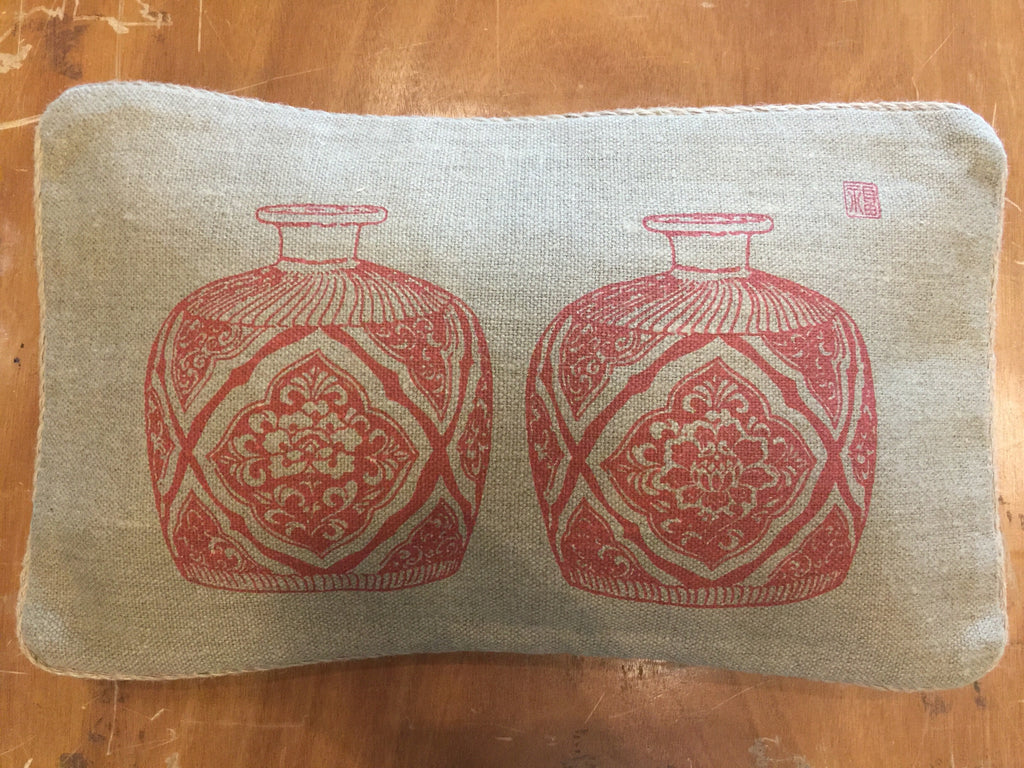 "12""x20"" heavy jute linen with red motif"