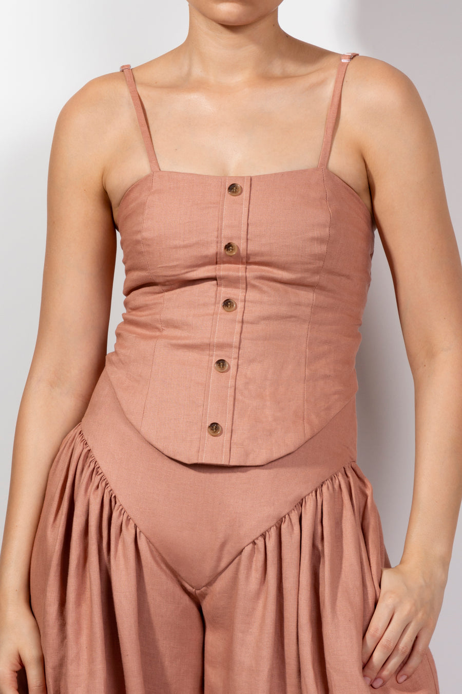 Rose Linen Corset Tie Top