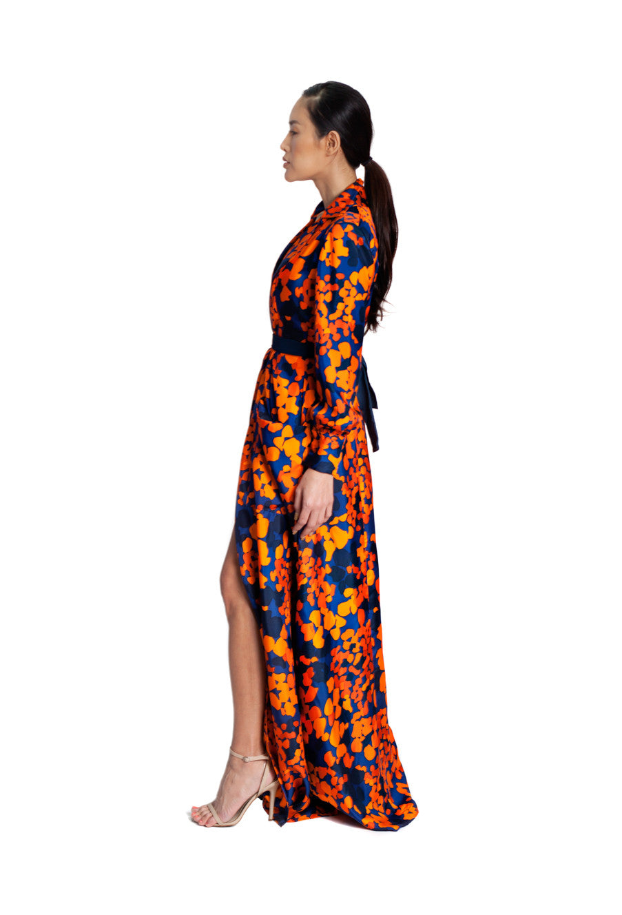 Silk Printed Trench Dress