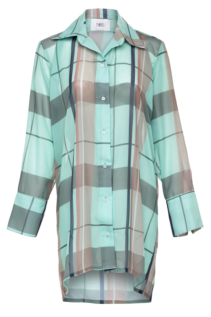 Caribbean Mint Plaid Button Up