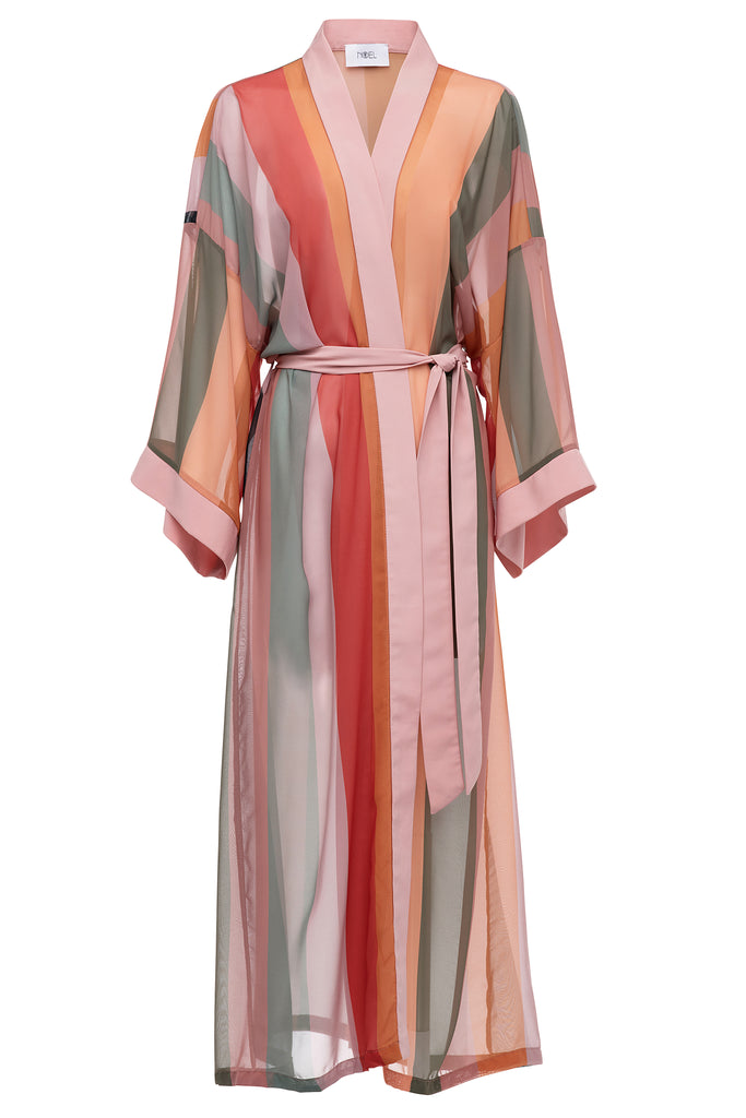 Color Stripe Sheer Robe