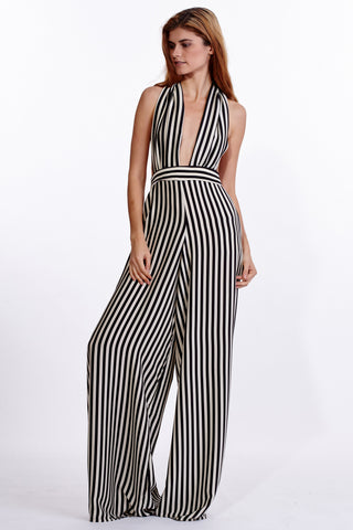 Bianca Stripe Silk Jumpsuit