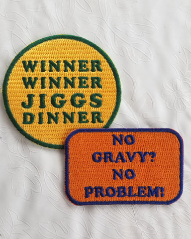 Jiggs Dinner + No Gravy Embroidered Patch Set