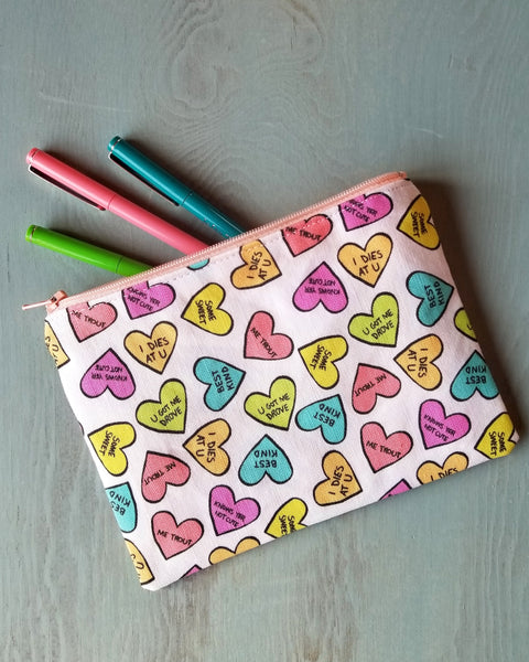 Candy Hearts Zipper Pouch