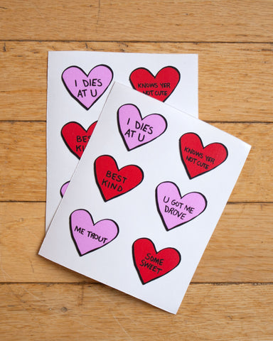 NL Candy Hearts Stickers (2-pk)