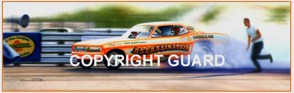 """Assassination in Dallas! ""....Roger Guzman's ""Assassination "" Funny Car.... Drag Racing Art"