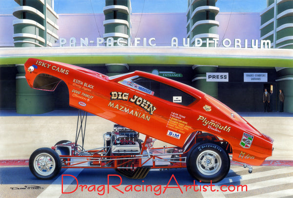 """Big Red"".....""Big John"" Mazmanian's 68/69 Barracuda FC.... Drag Racing Art"