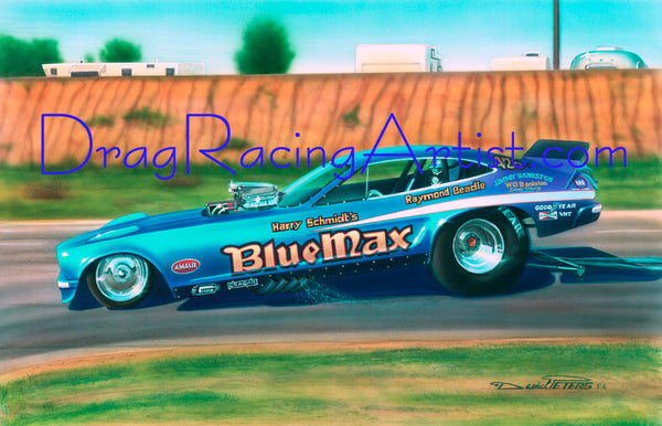 """B-Max at the OC.!""...  Raymond Beadle's Blue max Mustang II.... Drag Racing Art"