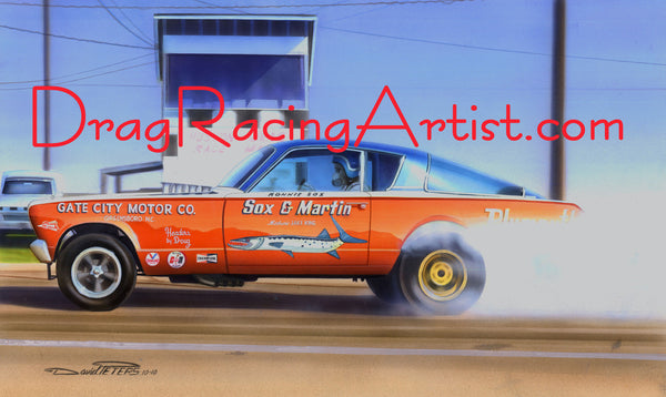"""BURNOUTACUDA""   Sox & Martin's 66 Nitro Barracuda.... Drag Racing Art"