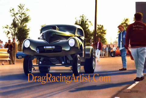 Bushmaster at Fontana 1965.... Drag Racing Art