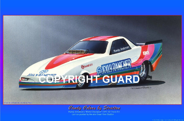 """CANDY COLORS by Stratton""  Randy Anderson's Trans Am...Drag Racing Artist"