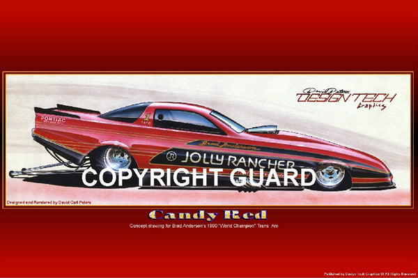 """CANDY RED"" ..Brad Anderson's Trans Am...Drag Racing Art"