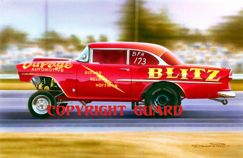 """CHERRY 55 ""  Biscan, Belsky & Hoffman's ""DuPage Automotive"" 55 Chevy ""Blitz"".... Drag Racing Art"