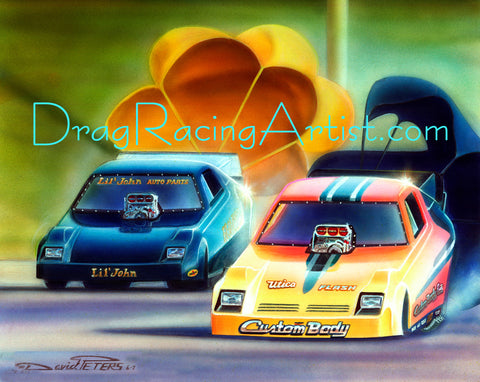 """Chute-Out @ the OC.!"" ....Lil John Lombardo vs. Denny Savage.... Drag Racing Art"