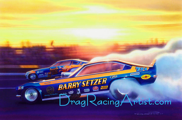 """Circus Blues ""  Pat Foster vs. Jungle Jim.... Drag Racing Art"