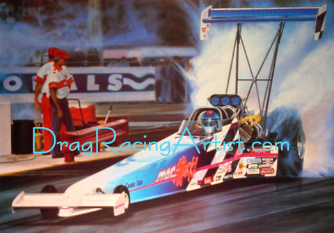 "The Atomac Attack"" ..Cory Mac ""Signed"" Blue Checkered Top Fueler....Drag Racing Art"