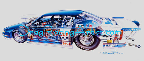 """CUTAWAY CUTLASS""  Warren Johnson's 95 Pro Stock Oldsmobile.... Drag Racing Art"