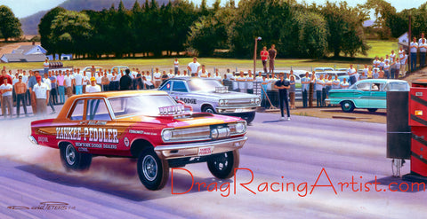 """East meets West at Dover""   Bill Flynn vs. Dick Landy.... Drag Racing Art"
