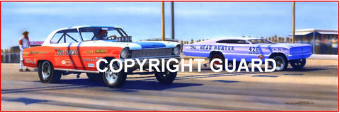 """Duel in Odessa! ""  Kelly Chadwick vs. Ray Capps.... Drag Racing Art"
